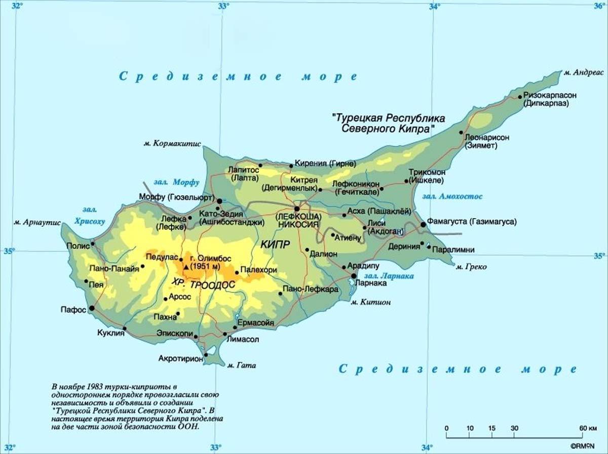 Карта кипра с курортами на русском языке